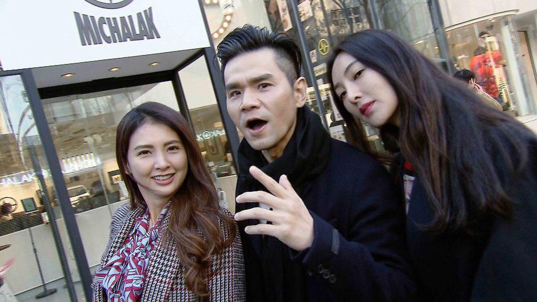 韋汝(左起)、Kevin和吳速玲到東京血拚。圖/TVBS提供