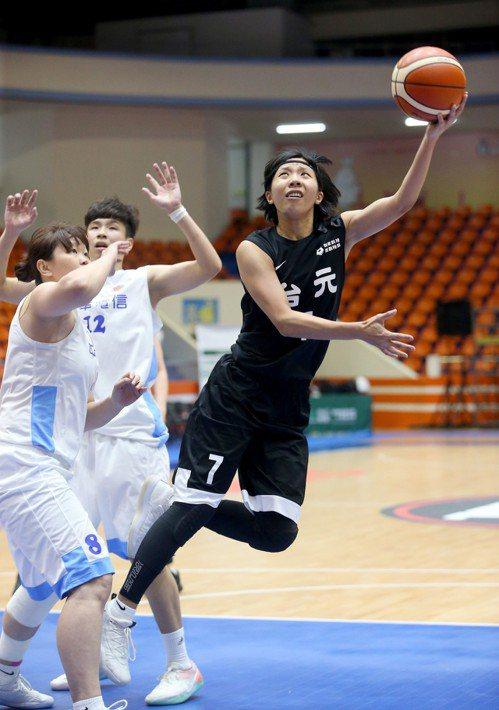 台元壽星蘇苡瑈(右)貢獻6分、7籃板。記者余承翰/攝影