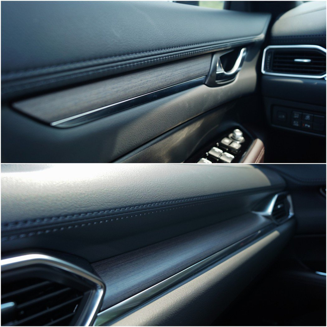 CX-5 SKY-G 2.5L AW標配的實木飾板相當典雅,實際在車艙裡感受相當...