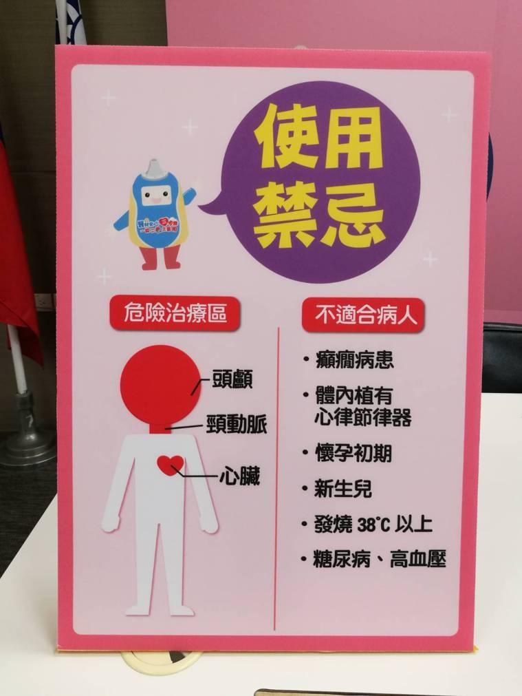 低週波治療器使用禁忌。記者羅真/攝影