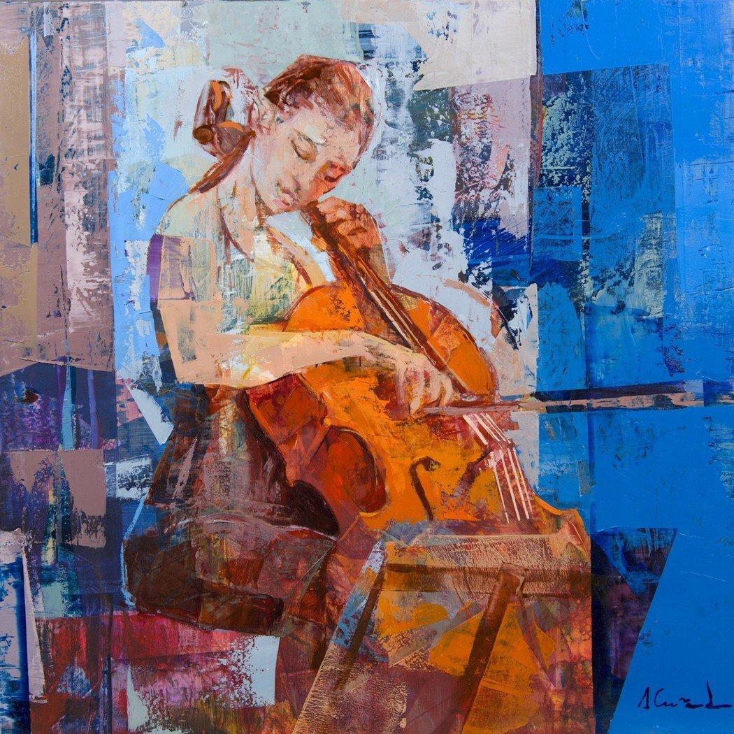 Alfonso Cuñado / Sonata for cello 油畫50x5...