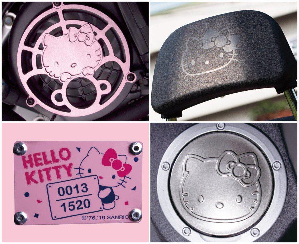 每部Hello Kitty 45週年聯名new J-bubu都有專屬的銘牌,車上...