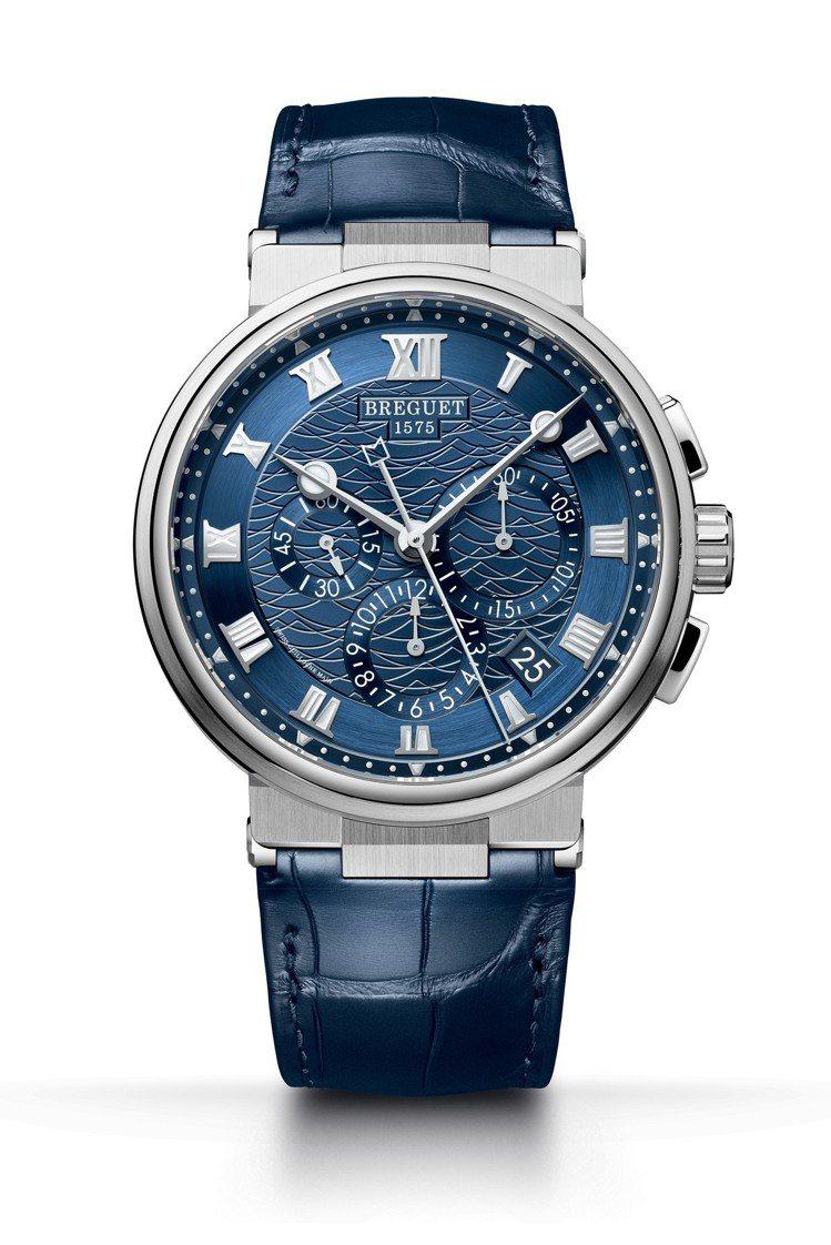 寶璣航海系列Chronographe 5527雙秒針計時碼表,18K白金表殼搭配...