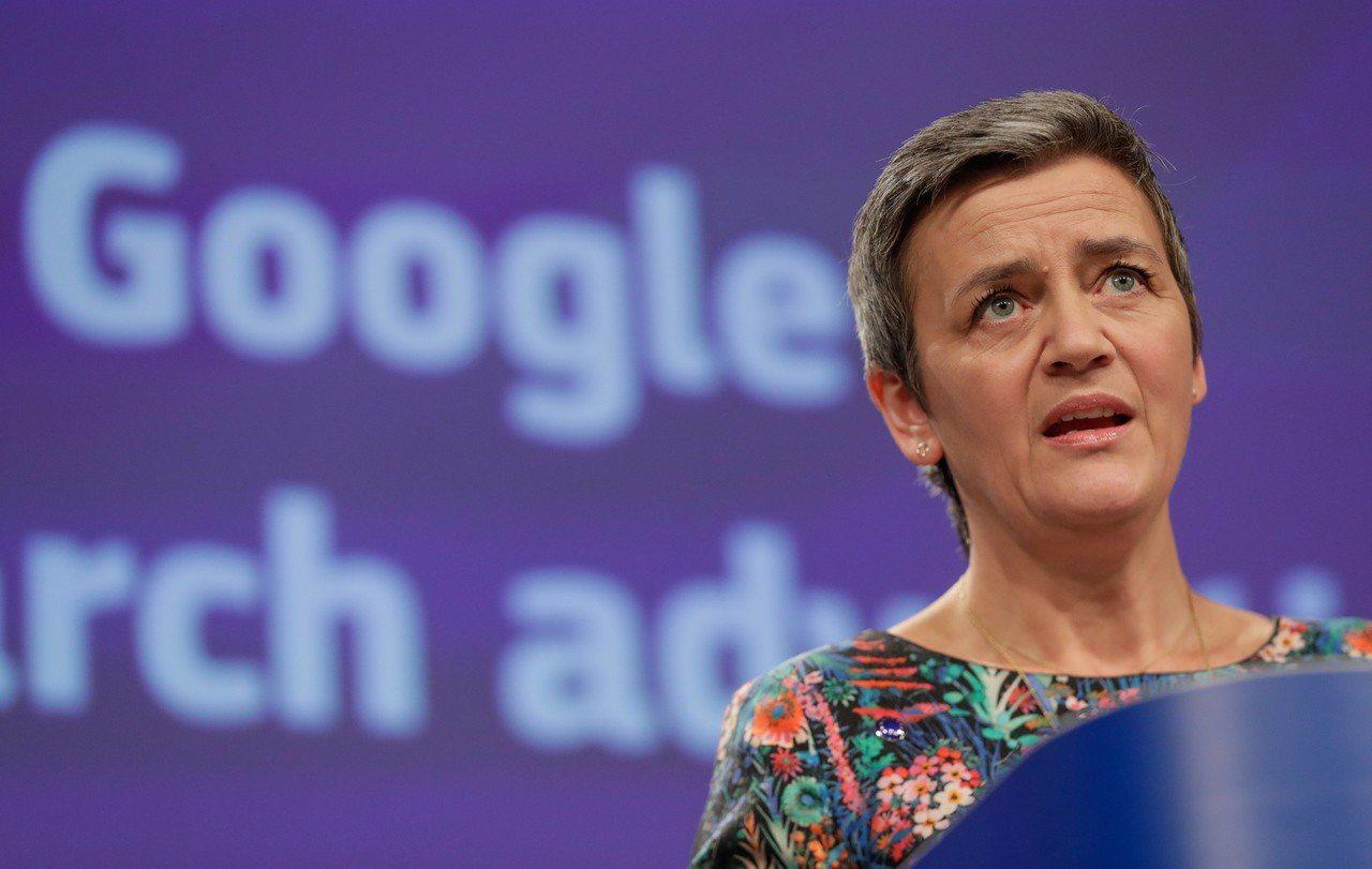歐盟20日再度重罰谷歌,圖為歐盟競爭專員瑪格瑞特.薇絲塔格。歐新社