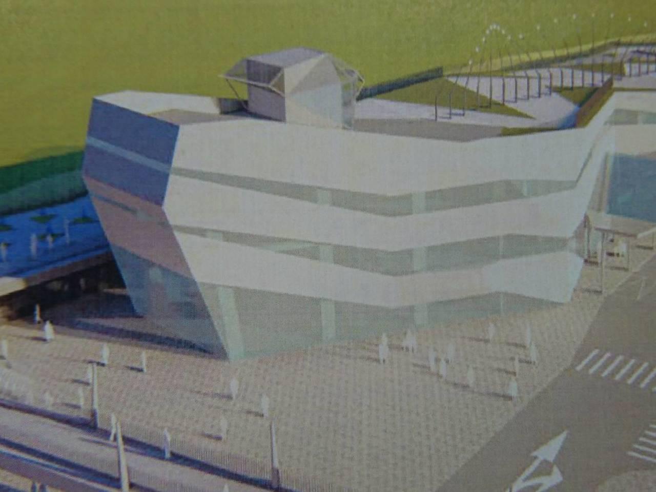 立委陳歐珀指出,服務中心設計外觀是大船入港,酷又炫,要求如期完工,動線妥善規劃與...