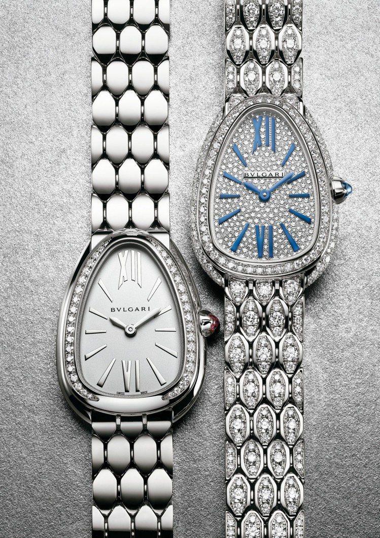 寶格麗SERPENTI SEDUTTORI白金腕表,84萬5,000元;白金滿鑽...