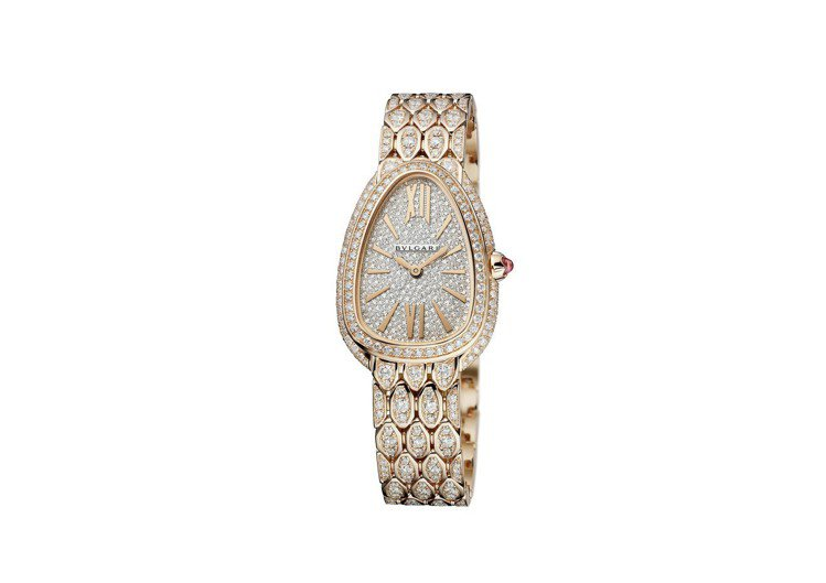 寶格麗SERPENTI SEDUTTORI 玫瑰金滿鑽腕表,價格未定。圖/寶格麗...