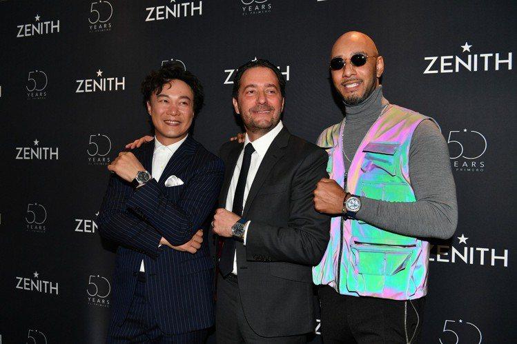 (由左至右)Zenith品牌大使陳奕迅、全球首席執行長朱利安托內爾、品牌之友Sw...