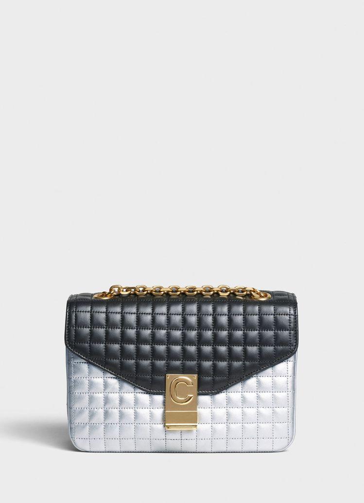 C Bag銀黑拼色格紋襯芯小牛皮中型鍊帶包,售價11萬元元。圖/取自celine...