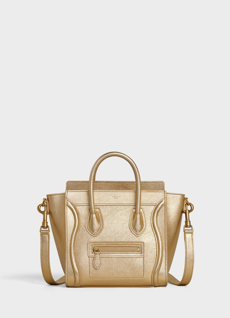 Luggage Nano亮金色小牛皮肩背提包,售價89,000元。圖/取自cel...