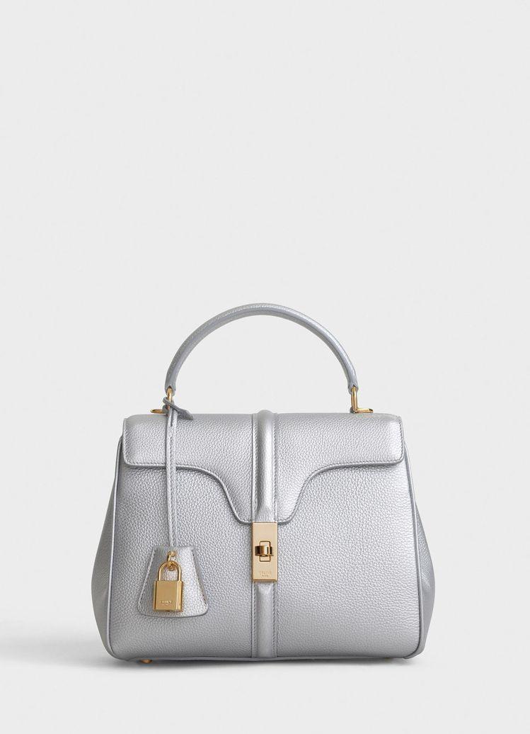 16 Bag亮銀色荔枝紋小牛皮小型肩背提包,售價13萬5,000元。圖/取自ce...