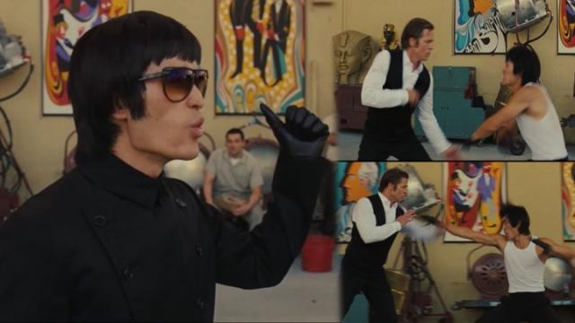 Mike Moh飾演李小龍在片中與布萊德彼特過招。摘自imdb