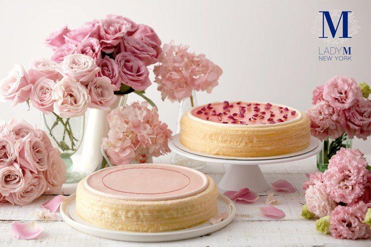 櫻花莓果千層蛋糕(前)、玫瑰千層蛋糕(後)。圖/Lady M提供