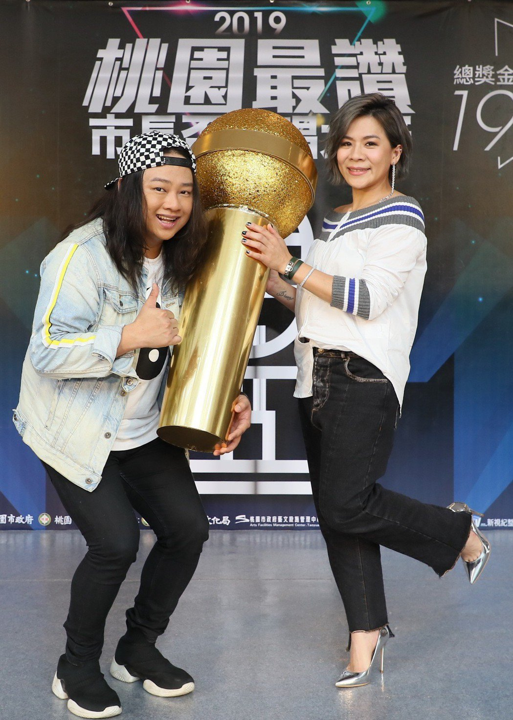 賴銘偉(左)、江美琪擔任「2019第一屆桃漾天籟歌唱大賽」代言人。圖/新視紀整合...