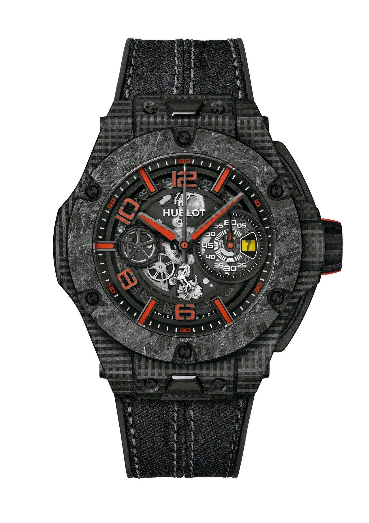 宇舶Big Bang Scuderia Ferrari紀念腕表,3D立體碳纖維表...