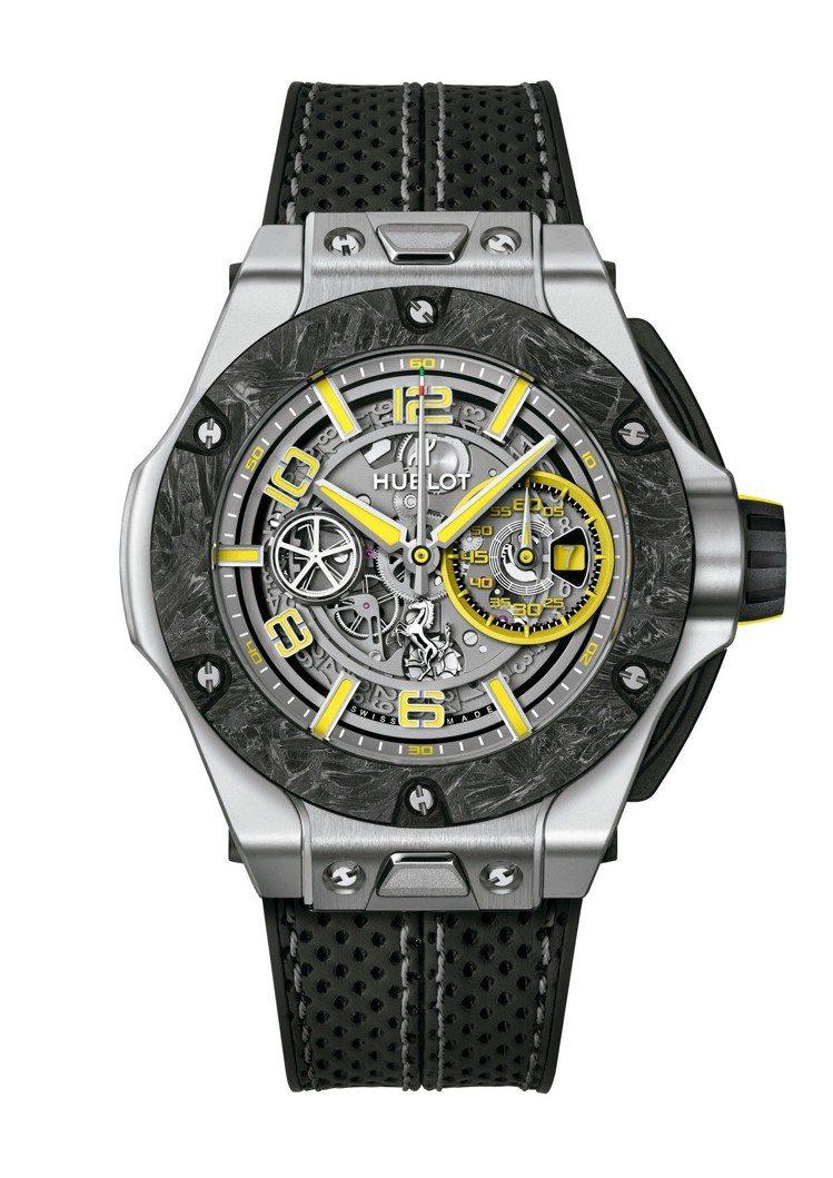 宇舶Big Bang Scuderia Ferrari紀念腕表,鉑金表殼搭配碳纖...