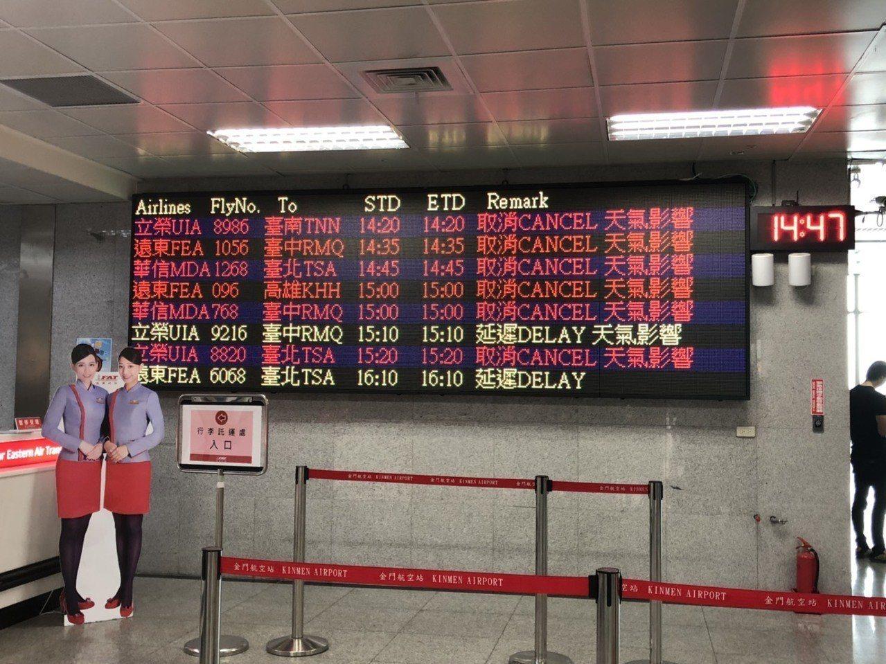 金門尚義機場因濃霧共取消35架次班機,航班表上全是取消的紅字。記者蔡家蓁/攝影