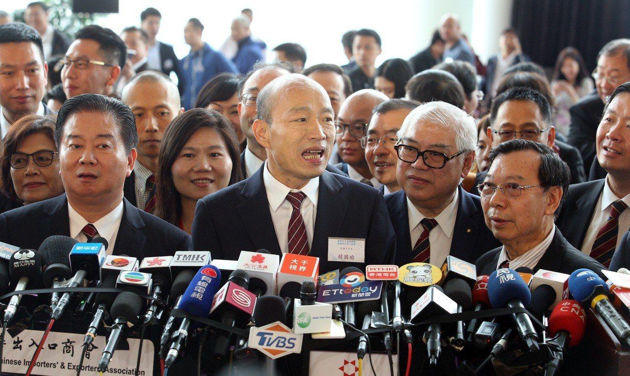 高雄市長韓國瑜出訪香港,下午舉行農產品推介會暨簽約儀式。聯合報系記者劉學聖/攝影