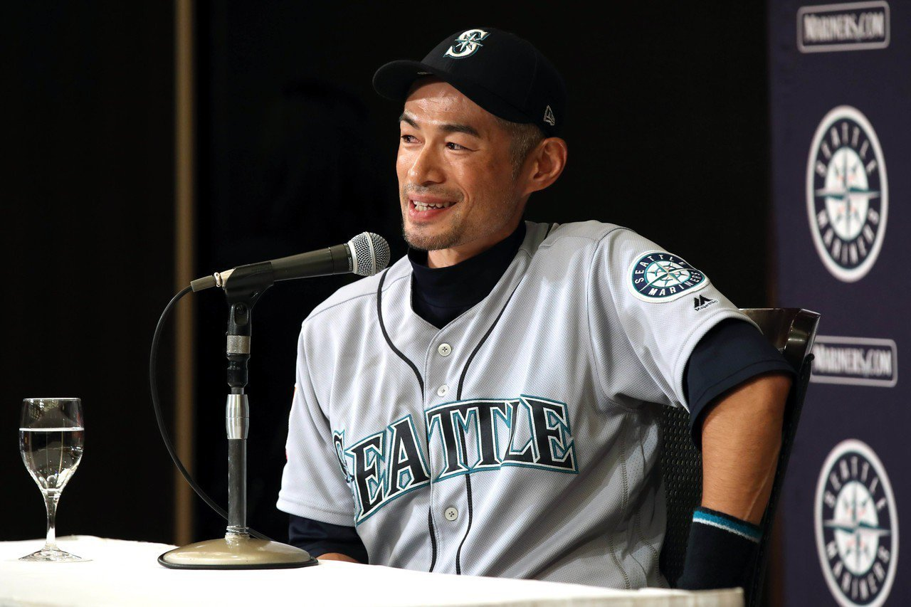 鈴木一朗賽後退休記者會。 路透