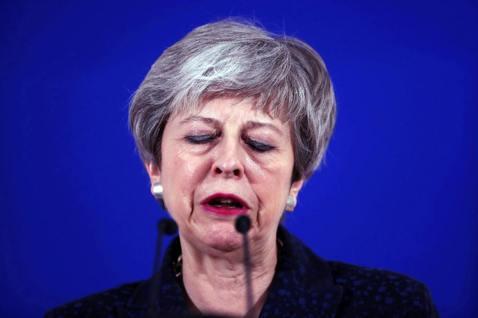 周四晚間歐盟27國領袖在布魯塞爾的總部,一致同意英國「推遲脫歐」的請求。 圖/美...