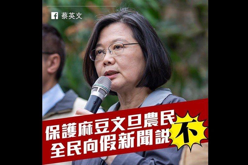 現今真正的挑戰是,台灣如何避免來自境內外虛假新聞宣傳操作的威脅。 圖/取自蔡英文...