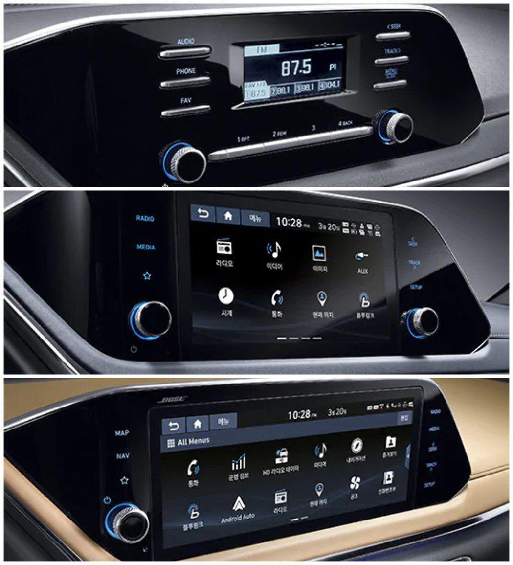 第八代Hyundai Sonata的中控螢幕有三種格局可選擇。 摘自Hyunda...