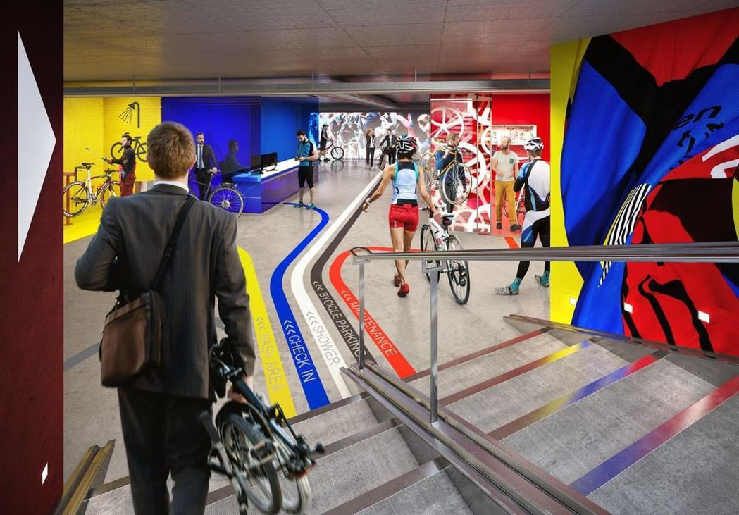 主教門大街22號將設置倫敦最大自行車停車場,劃設1700個自行車格。 圖/取自主...