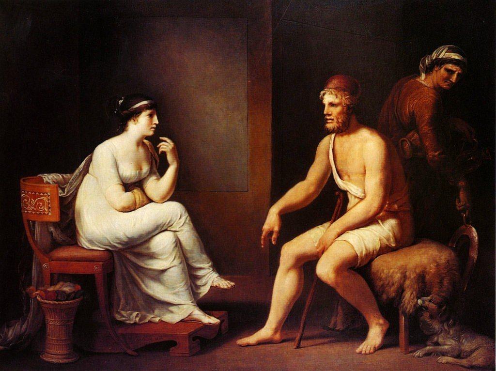 荷馬史詩《奧德賽》中,潘妮洛普(左)被初從男孩長成男人的兒子(右)斥道:「母親,...