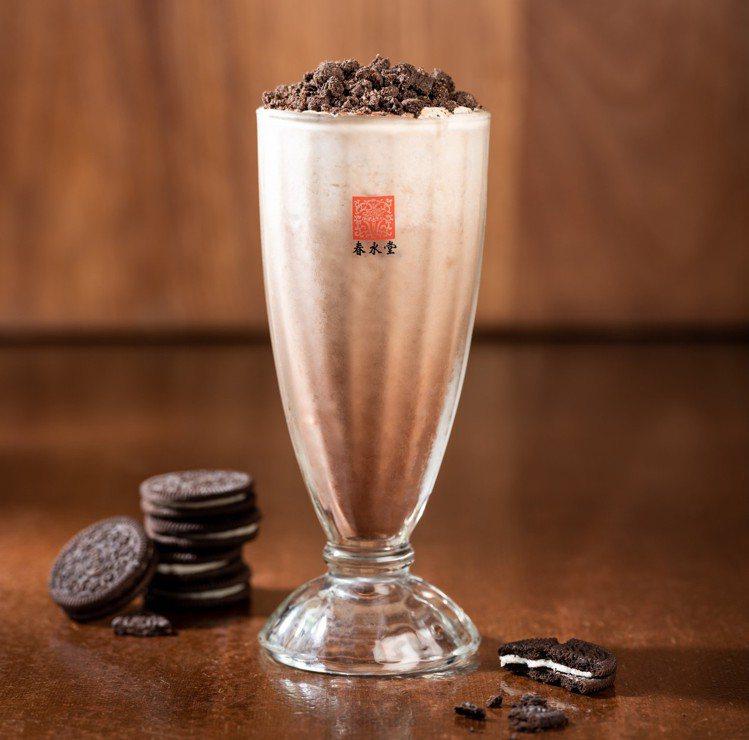 巧克力加上Oreo碎片的「冰巧克力鮮奶茶」。圖/春水堂提供