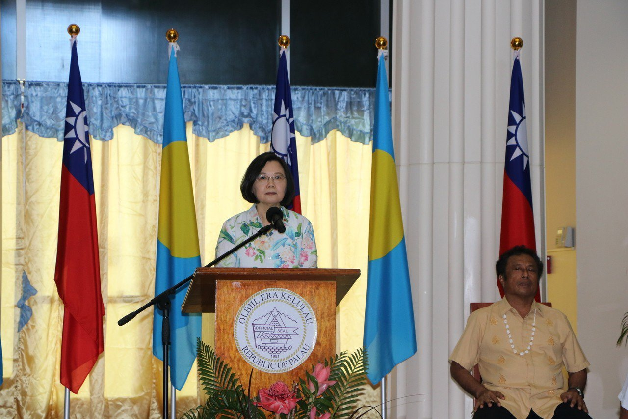 蔡英文總統在帛琉國會致詞,感謝帛方通過友我決議案。記者周佑政/攝影