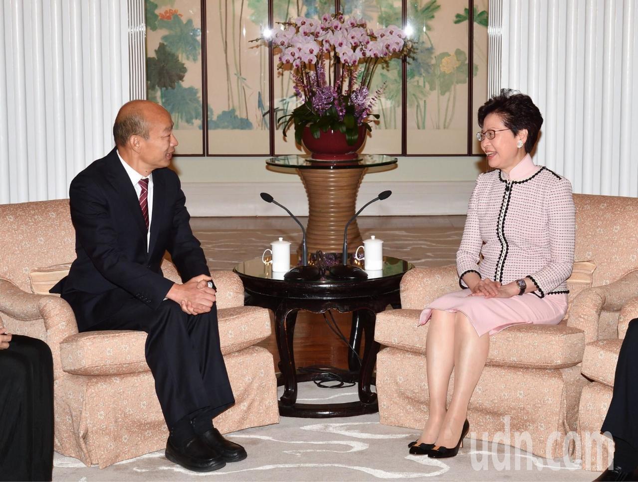 高雄市長韓國瑜出訪香港,到香港禮賓府與林鄭月娥會面。圖/高雄市政府提供
