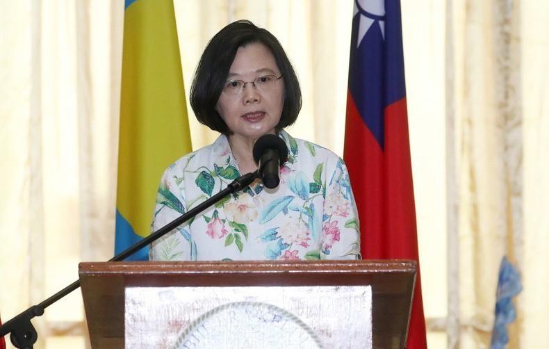 總統蔡英文22日上午前往參訪帛琉國會致詞。 (中央社)