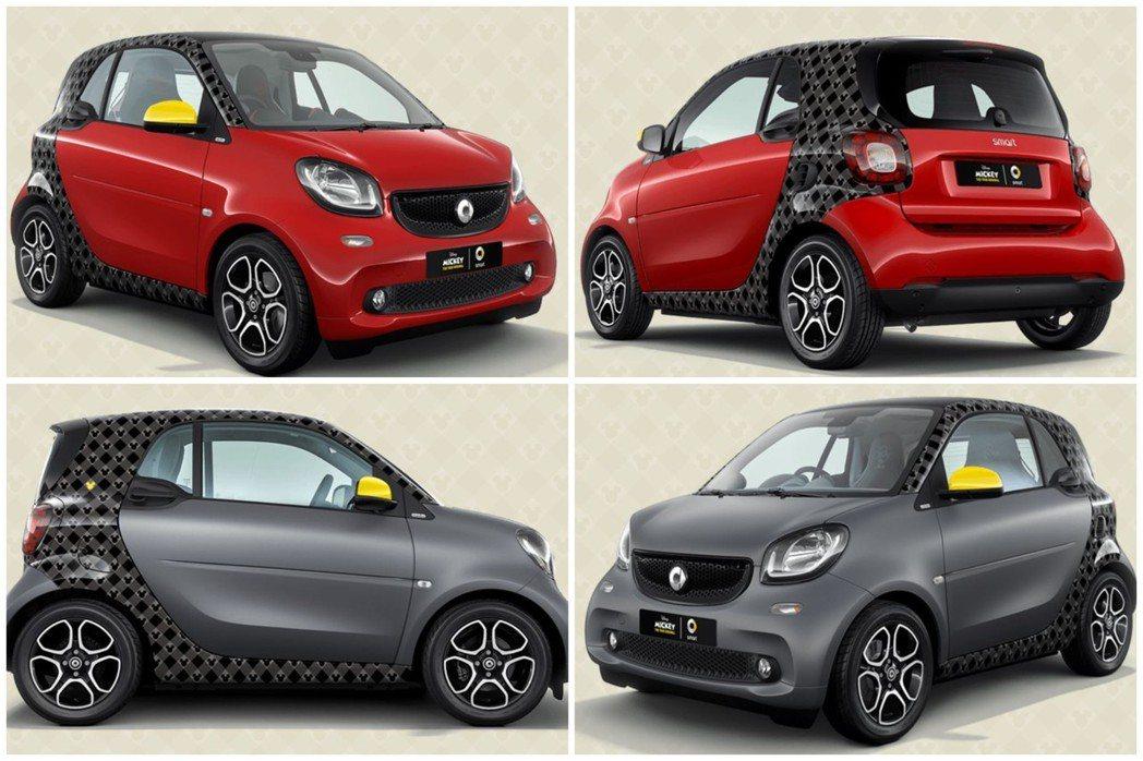 Smart fortwo米奇90週年紀念特仕車共有兩種顏色可選擇。 摘自Smar...