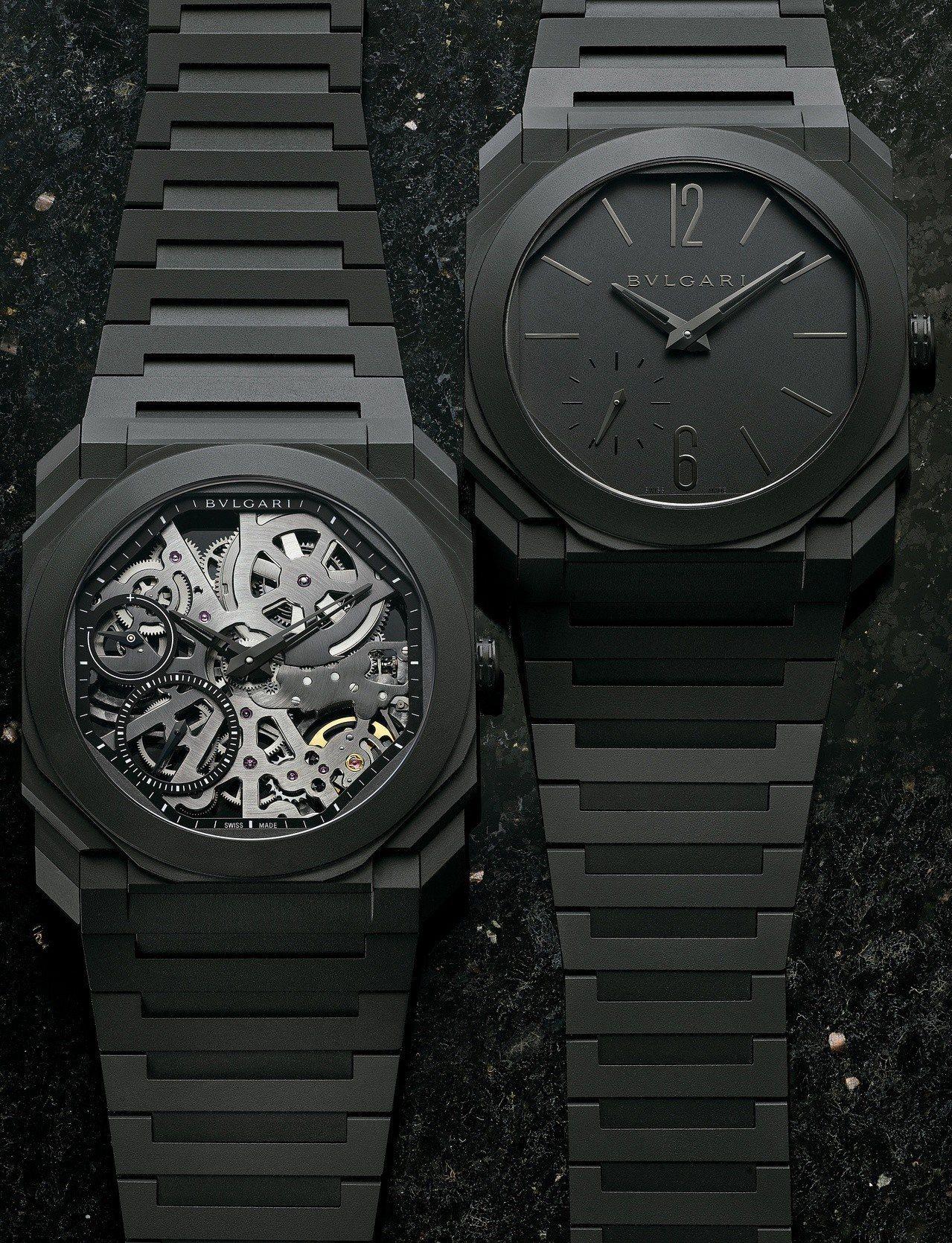 (由左至右)OCTO FINISSIMO鏤空陶瓷腕表,78萬7,000元;OCT...