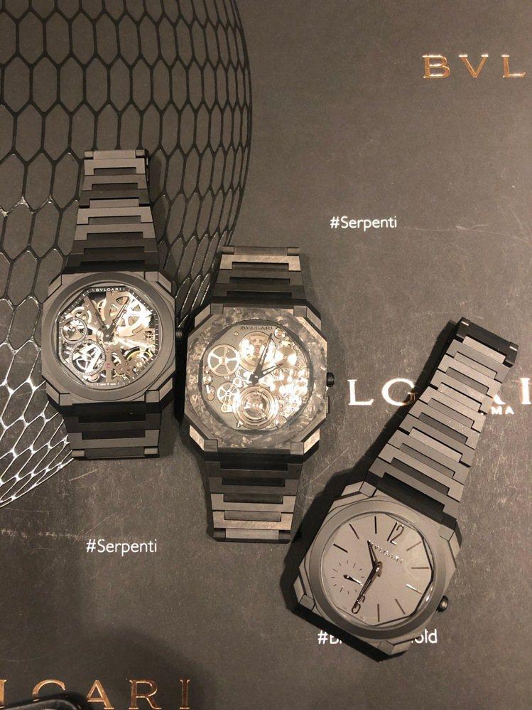 (由左至右)OCTO FINISSIMO鏤空陶瓷腕表,78萬7,000元;超薄鏤...