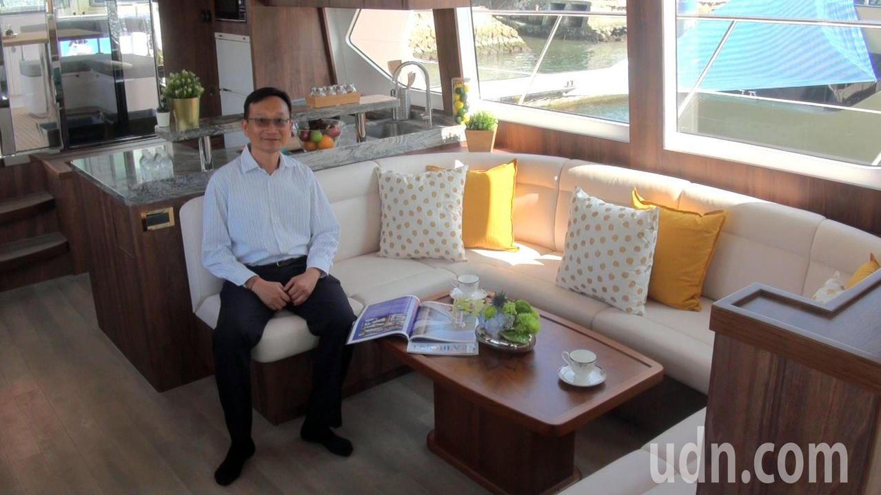 嘉信遊艇公司新發表的「伊莉莎白號」,內裝雅緻,宛如一座海上移動的豪宅。記者王昭月...