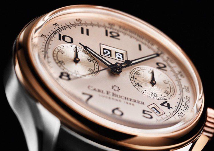 寶齊萊傳承系列年曆雙盤計時碼表精鋼及玫瑰金款,41毫米精鋼與玫瑰金表殼、CFB ...