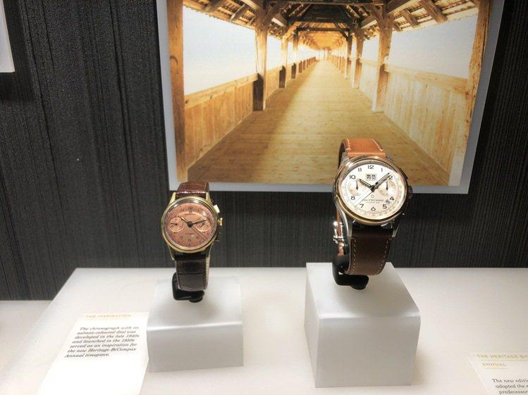 寶齊萊傳承系列年曆雙盤計時碼表與啟發該表創作的1956年的34毫米骨董表。記者孫...