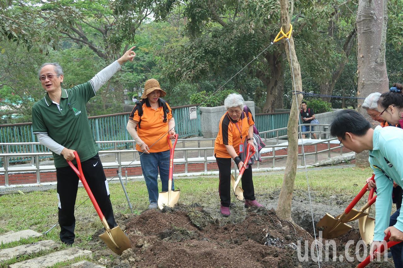 民眾在壽山動物園區種下三株象徵韓國瑜的樹,分別是櫸木、光臘樹和榔榆。記者徐如宜/...