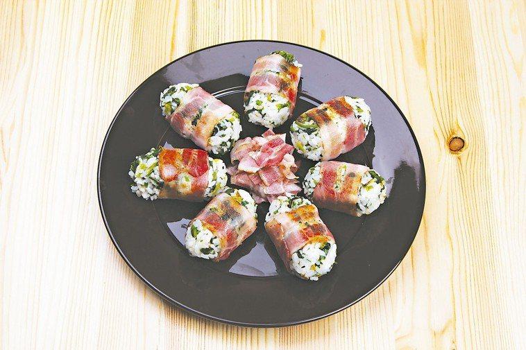 菠菜培根飯糰 圖╱摘自采實文化出版《10分鐘做晚餐》