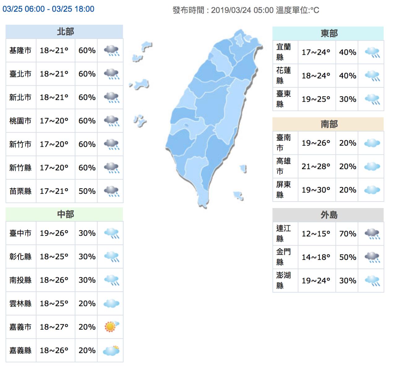 中部以北地區明天天氣濕涼。圖/取自中央氣象局網站