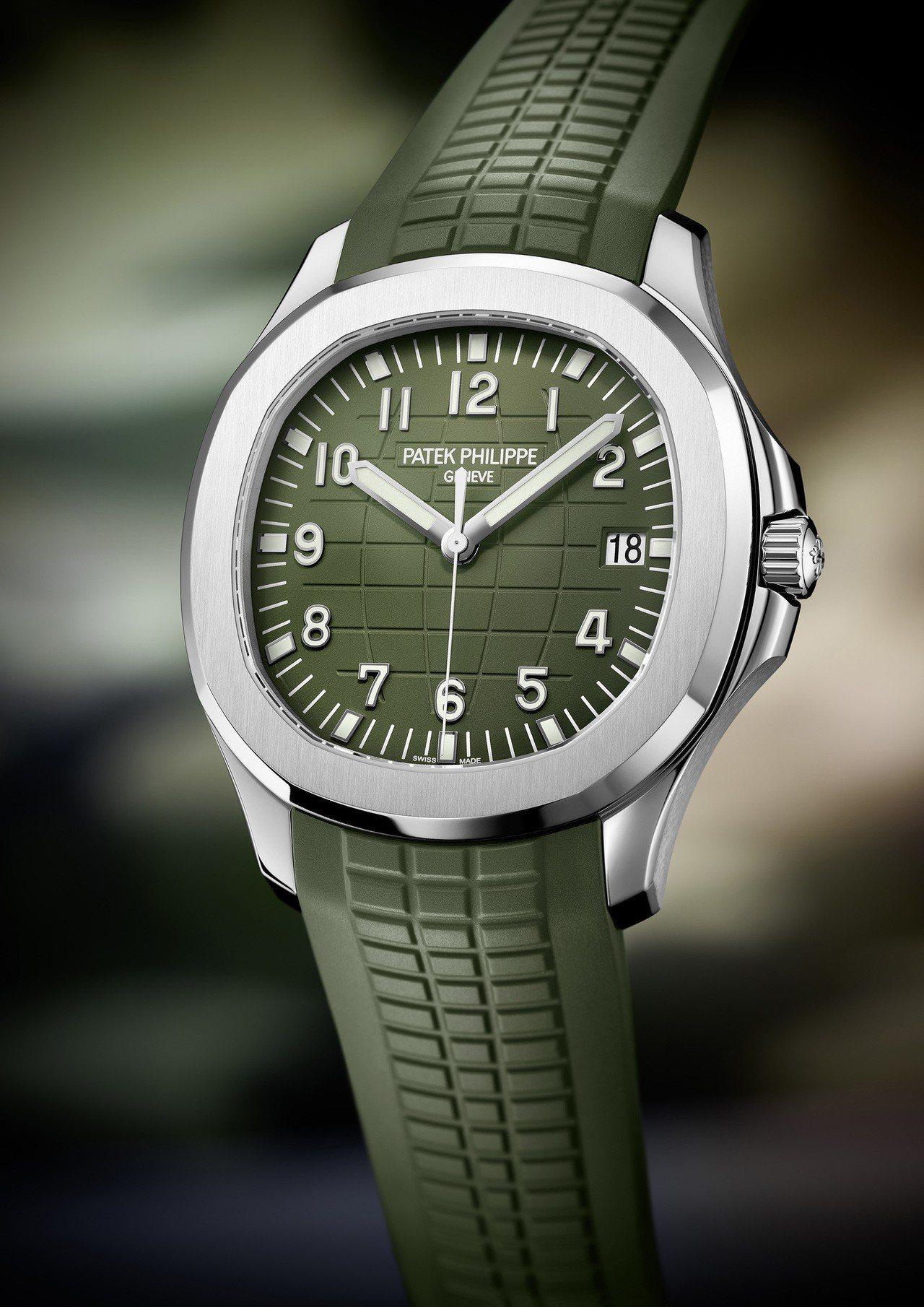 百達翡麗編號5168G卡其綠色Jumbo Aquanaut,40.8毫米白金表殼...