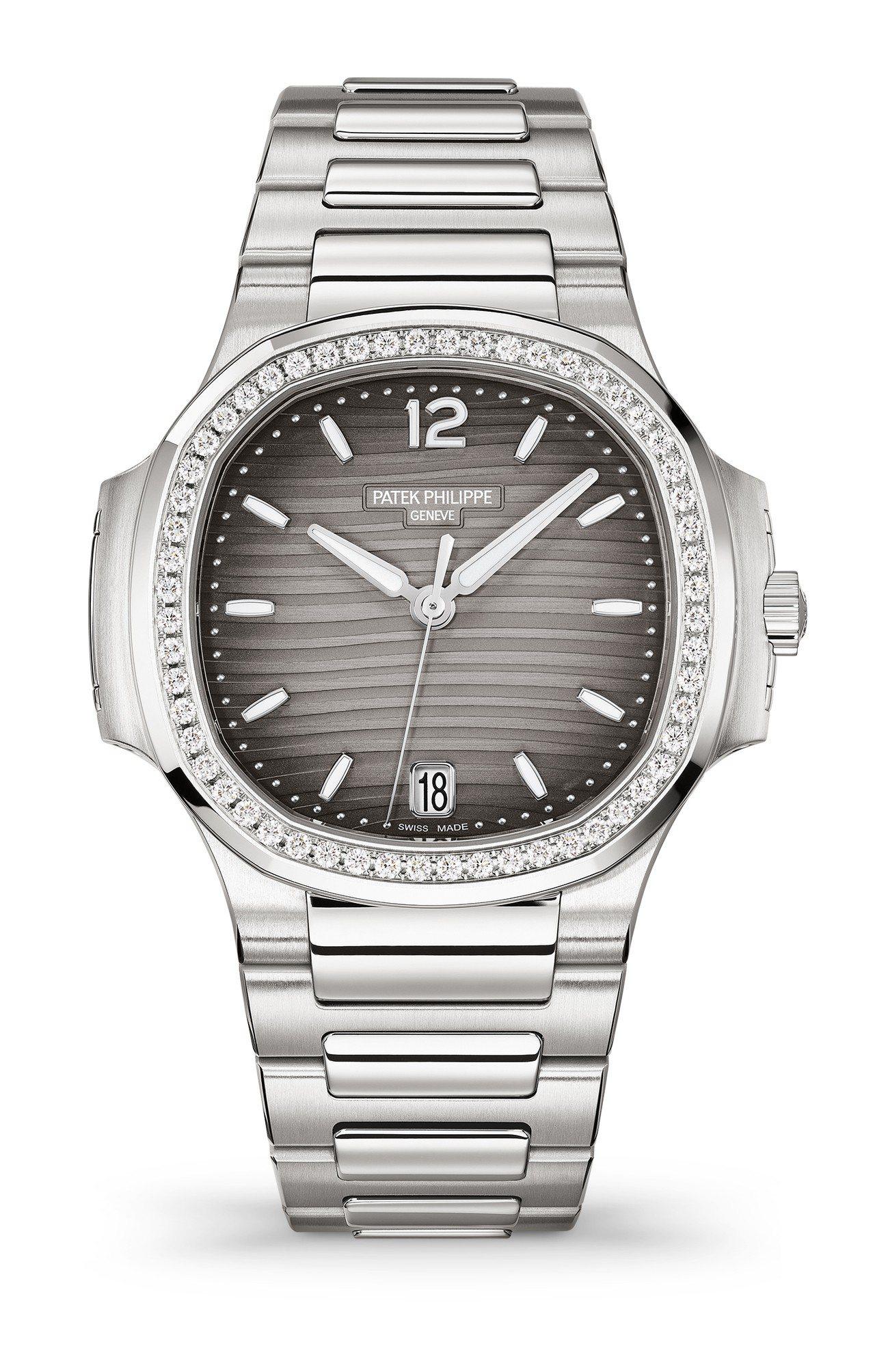 百達翡麗編號7118 Nautilus自動上鍊女裝不鏽鋼腕表,35.2毫米精鋼鑲...