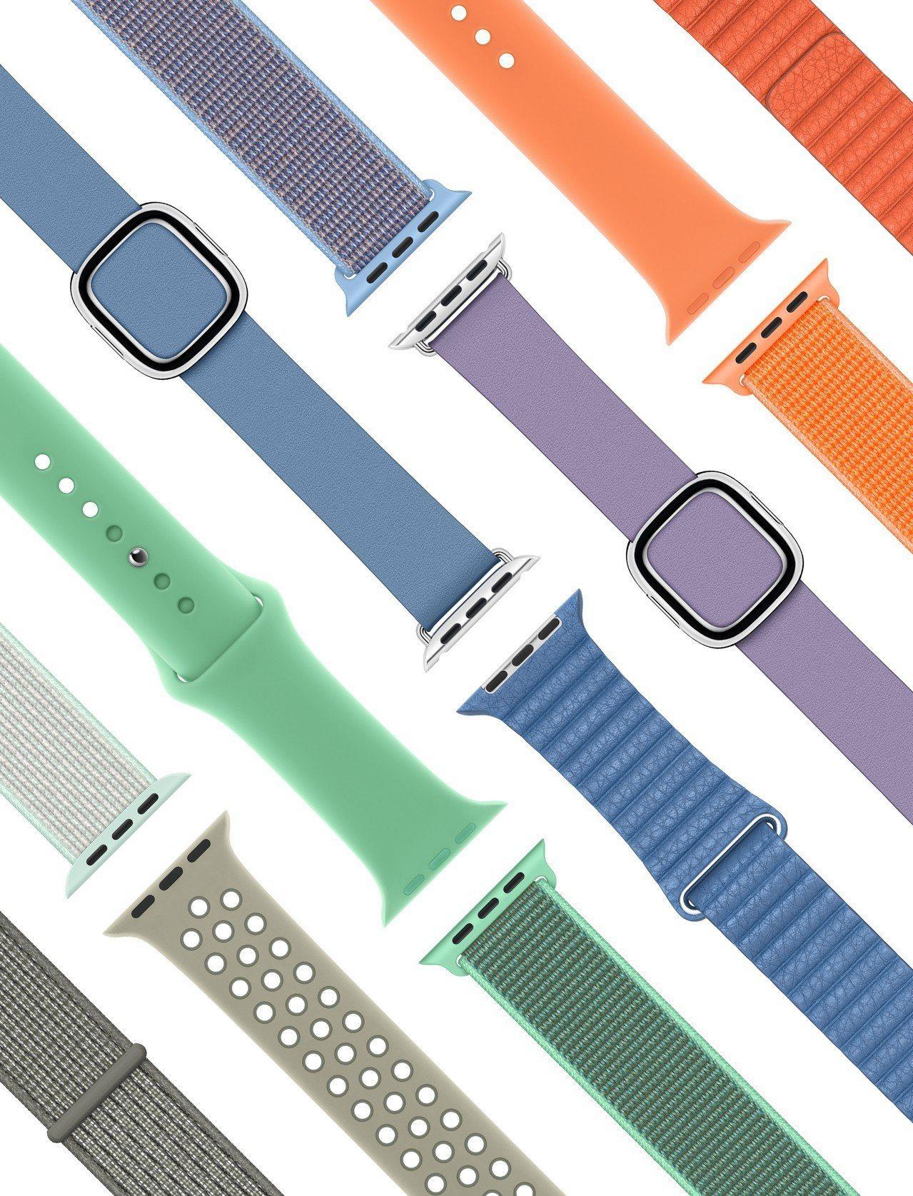 Apple Watch推出多款春季新色表帶。圖/蘋果提供