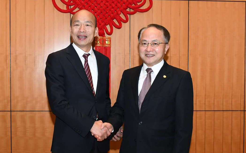 高雄市長韓國瑜(左)會見香港中聯辦主任王志民(右)。 圖/取自香港中聯辦官網
