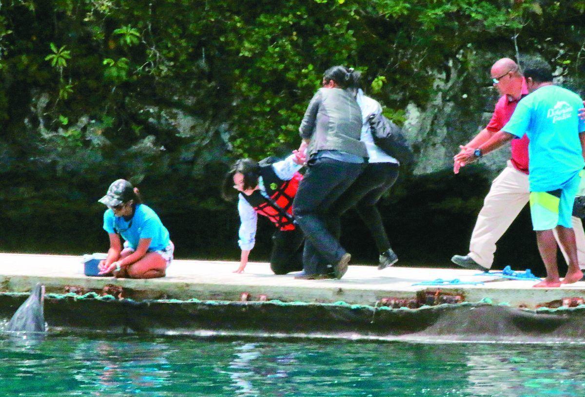 蔡英文總統(左二)日前展開「海洋民主之旅」訪問太平洋友邦帛琉,但在海豚灣不慎跌倒...
