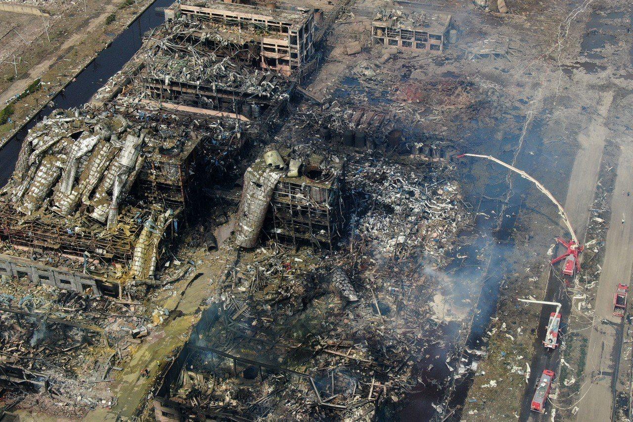 江蘇鹽城天嘉宜化工有限公司爆炸事故現場,成一片廢墟。中新社