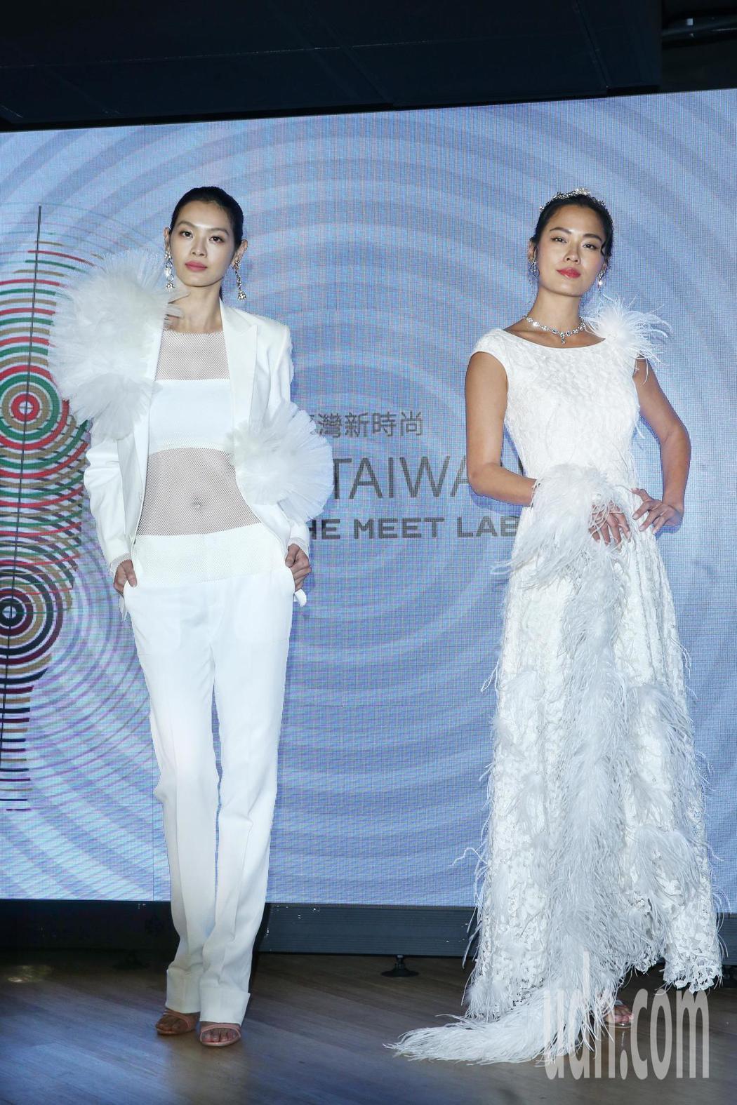 林嘉綺(左)與王麗雅(右)下午詮釋《braIN TAIWAN》設計師新作,並將與...