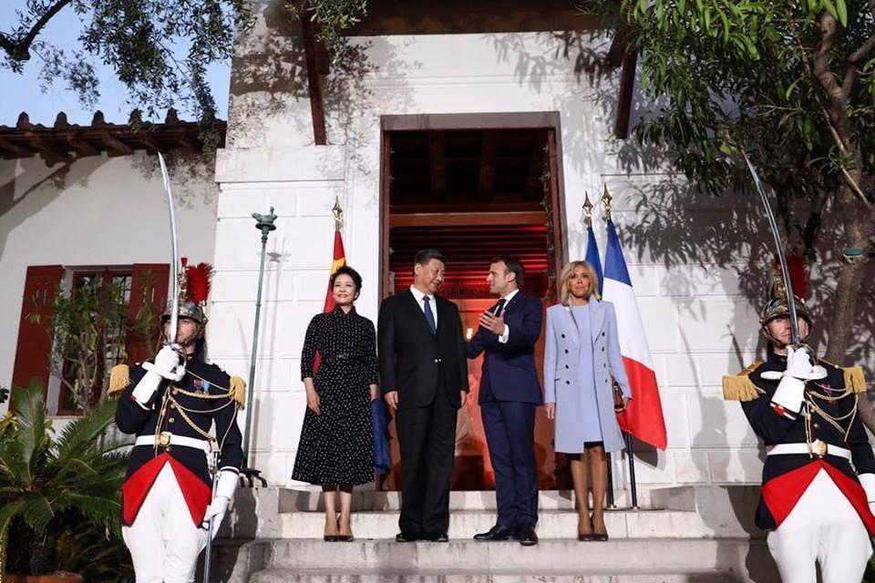 大陸國家主席習近平(左二)會見法國總統馬克宏(右二)。 圖/取自馬克宏臉書