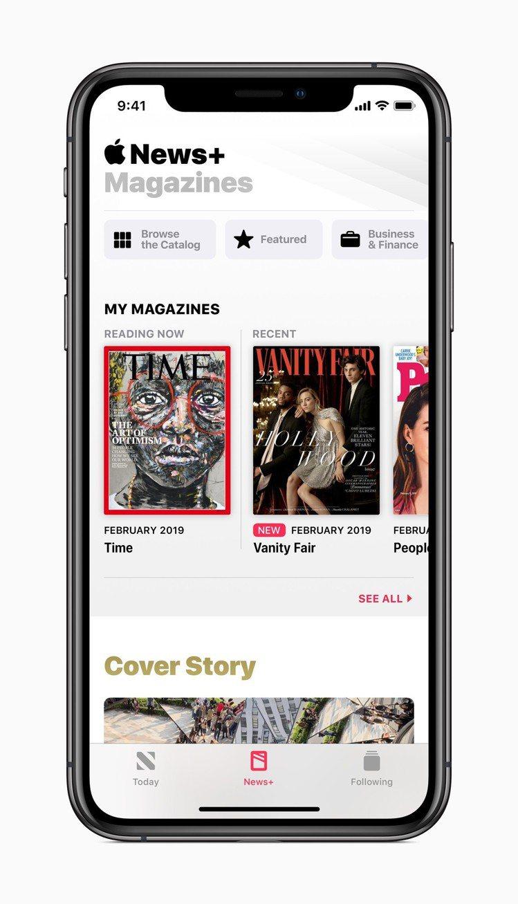 訂閱用戶可以在News+標籤中追蹤訂閱喜愛的出版物。圖/蘋果提供